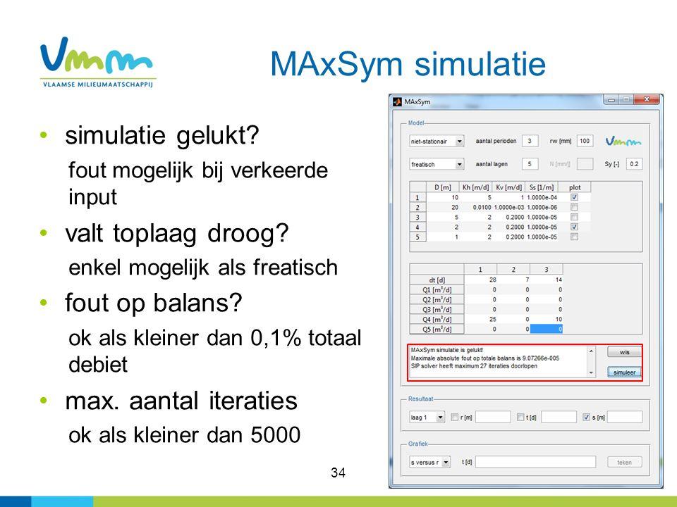 34 MAxSym simulatie simulatie gelukt.fout mogelijk bij verkeerde input valt toplaag droog.