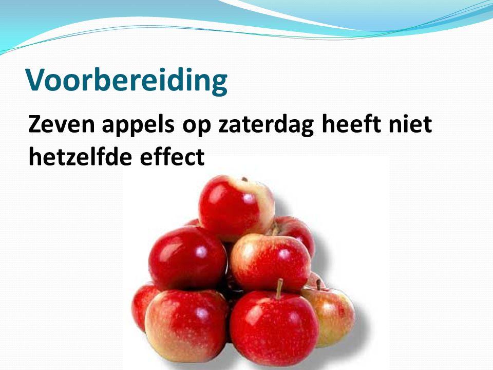 Zeven appels op zaterdag heeft niet hetzelfde effect Voorbereiding