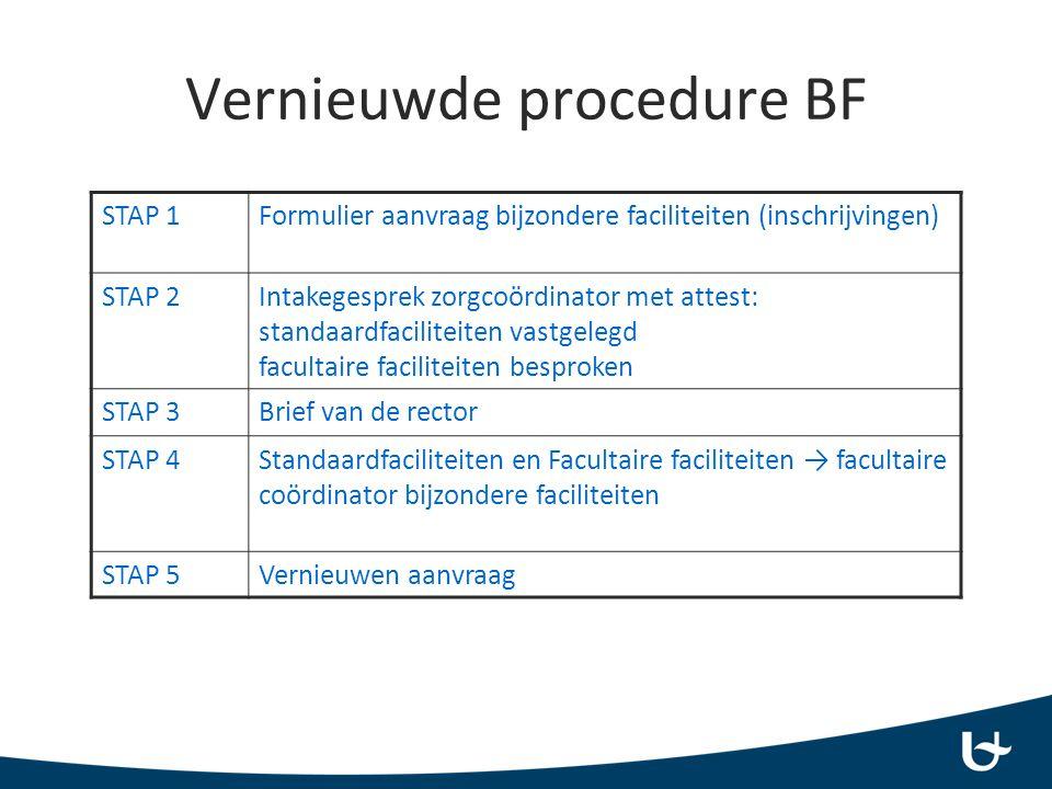 Vernieuwde procedure BF STAP 1Formulier aanvraag bijzondere faciliteiten (inschrijvingen) STAP 2Intakegesprek zorgcoördinator met attest: standaardfaciliteiten vastgelegd facultaire faciliteiten besproken STAP 3Brief van de rector STAP 4Standaardfaciliteiten en Facultaire faciliteiten → facultaire coördinator bijzondere faciliteiten STAP 5Vernieuwen aanvraag