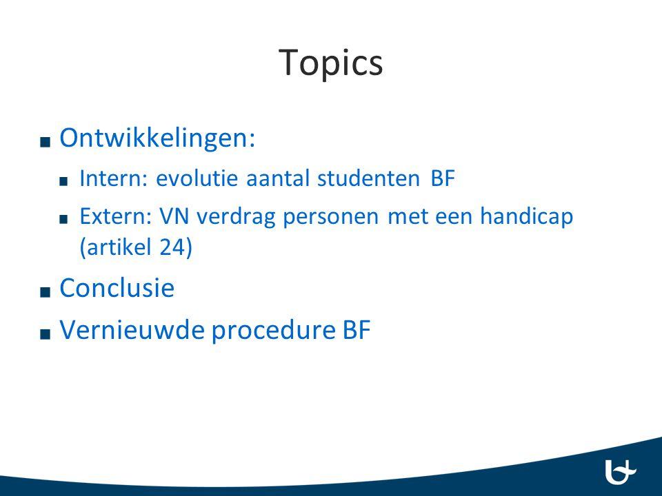 Topics Ontwikkelingen: Intern: evolutie aantal studenten BF Extern: VN verdrag personen met een handicap (artikel 24) Conclusie Vernieuwde procedure BF