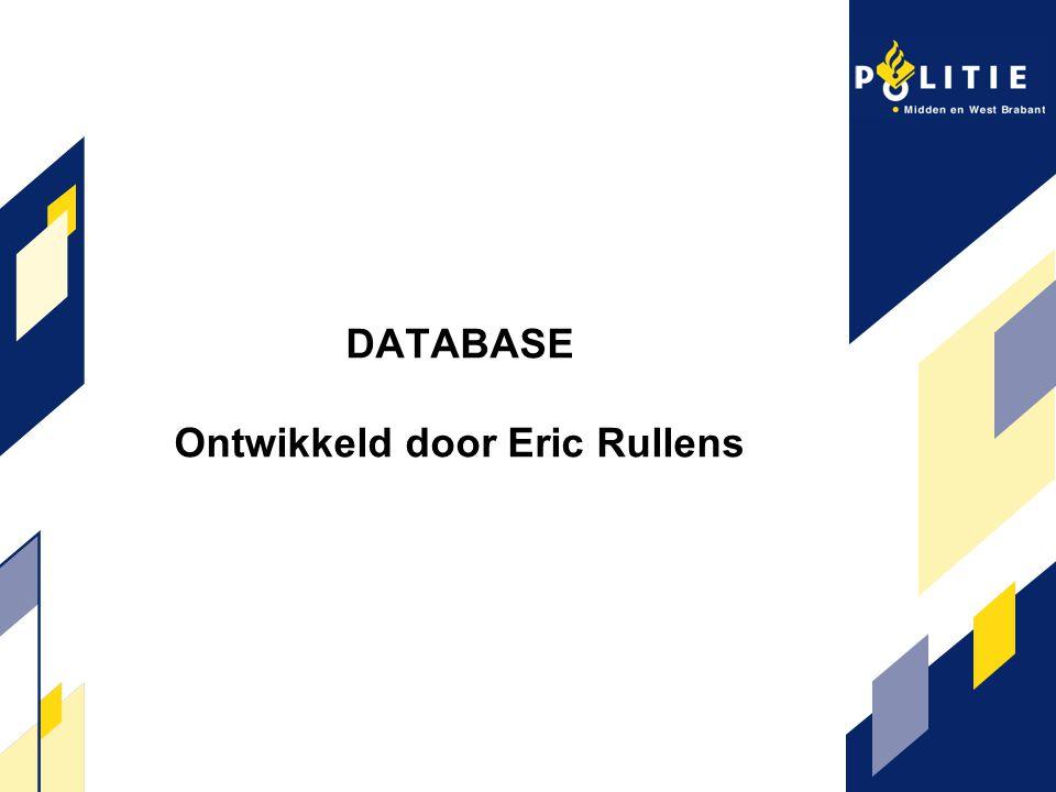 DATABASE Ontwikkeld door Eric Rullens