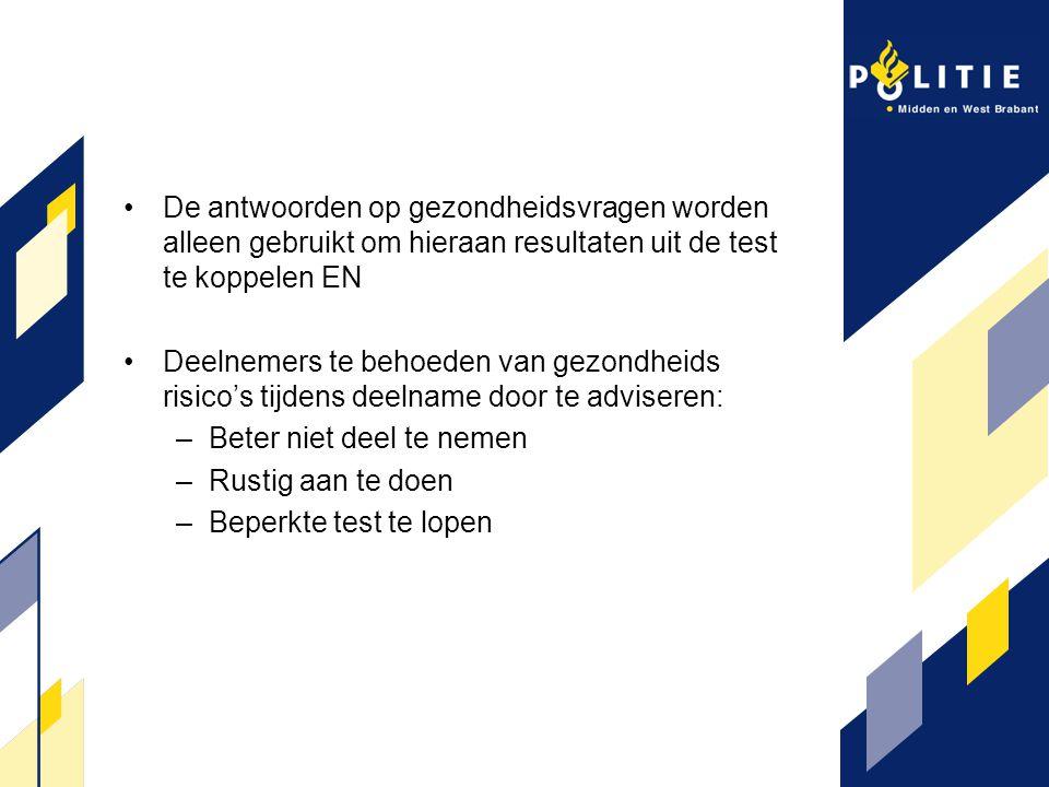 De antwoorden op gezondheidsvragen worden alleen gebruikt om hieraan resultaten uit de test te koppelen EN Deelnemers te behoeden van gezondheids risi