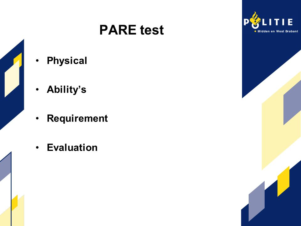 PARE test Physical Ability's Requirement Evaluation