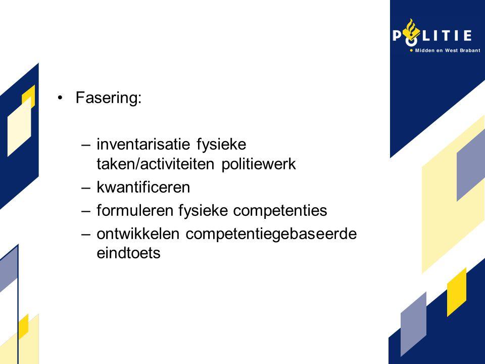 Fasering: –inventarisatie fysieke taken/activiteiten politiewerk –kwantificeren –formuleren fysieke competenties –ontwikkelen competentiegebaseerde ei