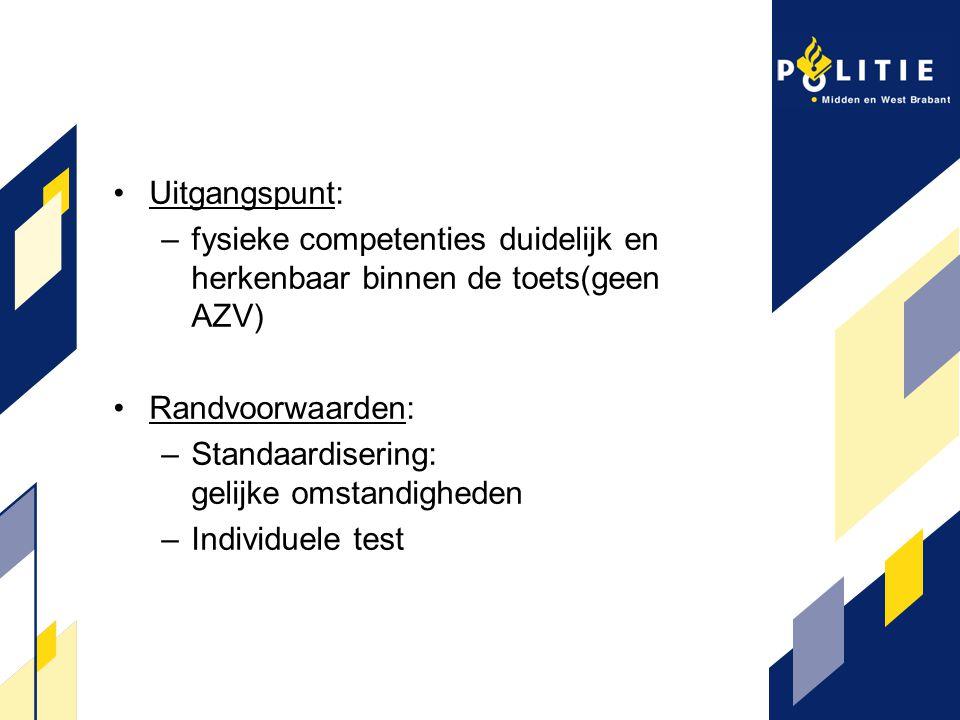 Uitgangspunt: –fysieke competenties duidelijk en herkenbaar binnen de toets(geen AZV) Randvoorwaarden: –Standaardisering: gelijke omstandigheden –Indi