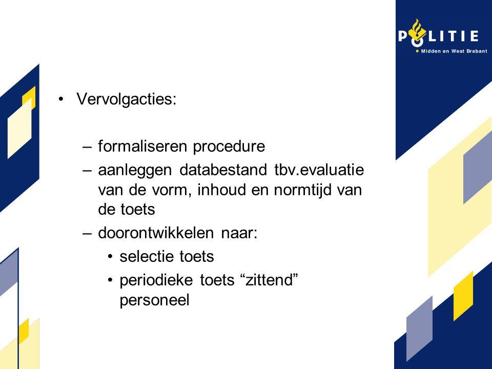 Vervolgacties: –formaliseren procedure –aanleggen databestand tbv.evaluatie van de vorm, inhoud en normtijd van de toets –doorontwikkelen naar: select