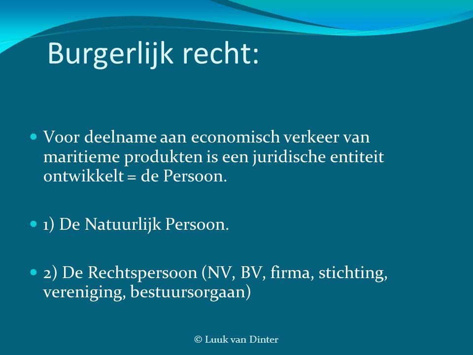 © Luuk van Dinter Burgerlijk recht: Voor deelname aan economisch verkeer van maritieme produkten is een juridische entiteit ontwikkelt = de Persoon. 1