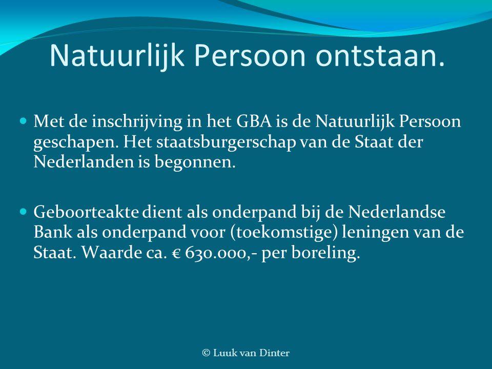 © Luuk van Dinter Natuurlijk Persoon ontstaan. Met de inschrijving in het GBA is de Natuurlijk Persoon geschapen. Het staatsburgerschap van de Staat d