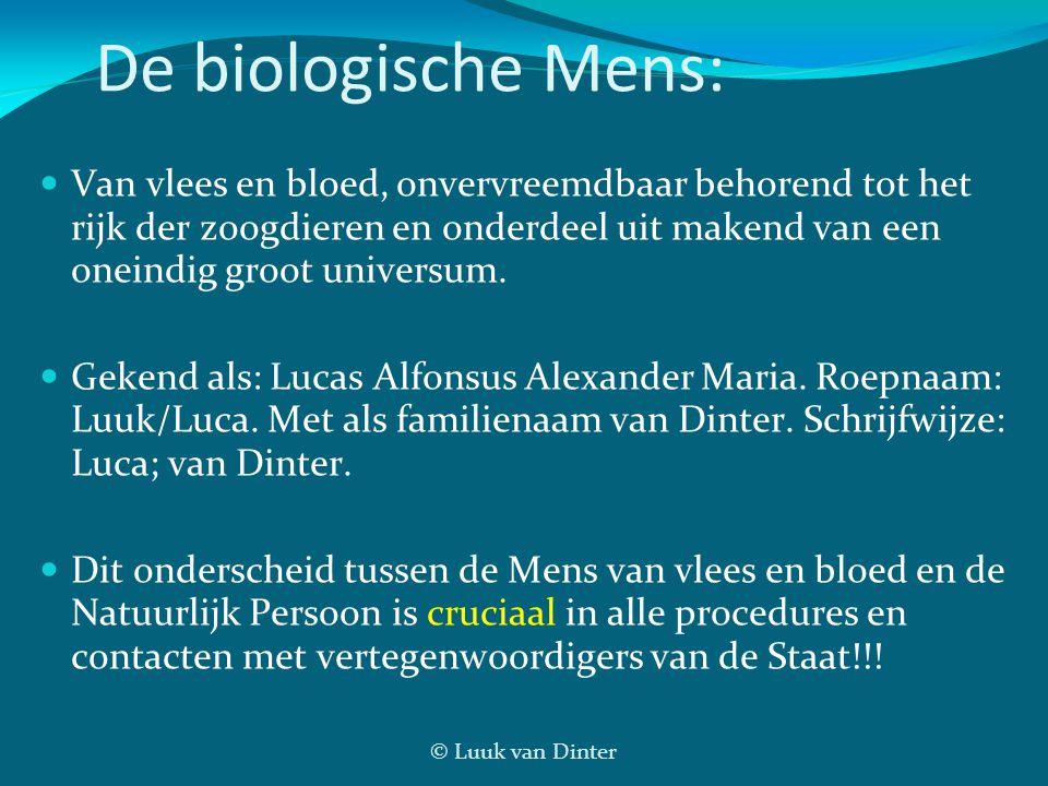 © Luuk van Dinter De biologische Mens: Van vlees en bloed, onvervreemdbaar behorend tot het rijk der zoogdieren en onderdeel uit makend van een oneindig groot universum.