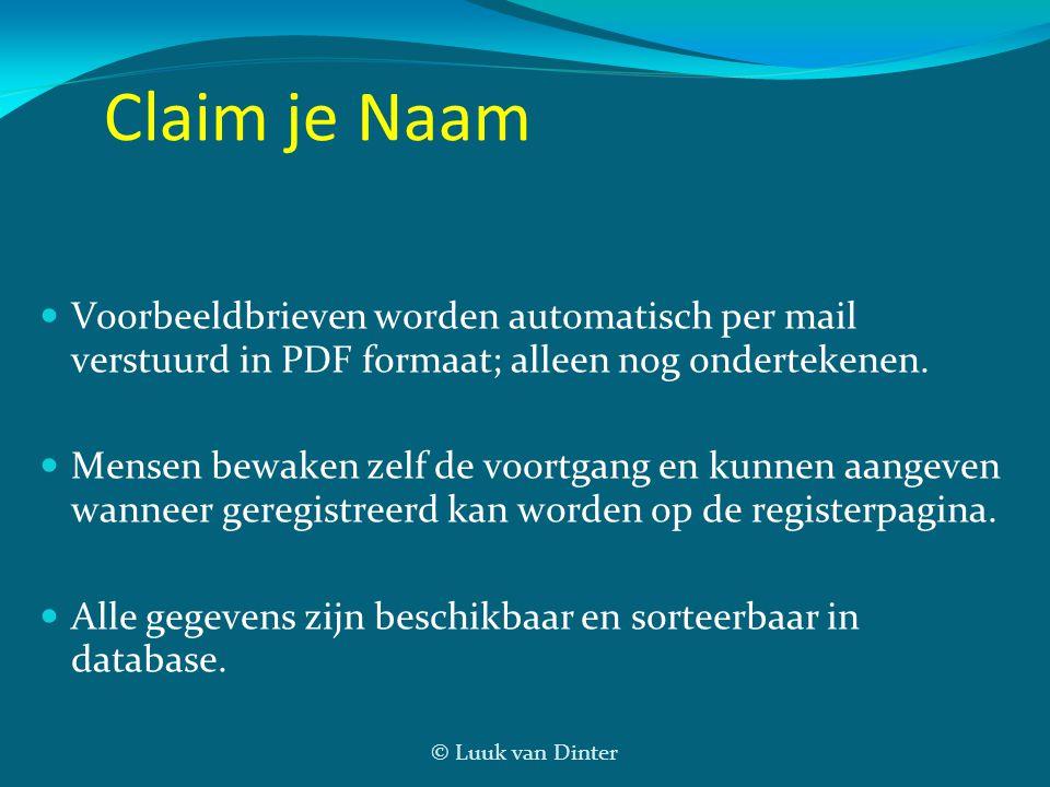 © Luuk van Dinter Claim je Naam Voorbeeldbrieven worden automatisch per mail verstuurd in PDF formaat; alleen nog ondertekenen. Mensen bewaken zelf de