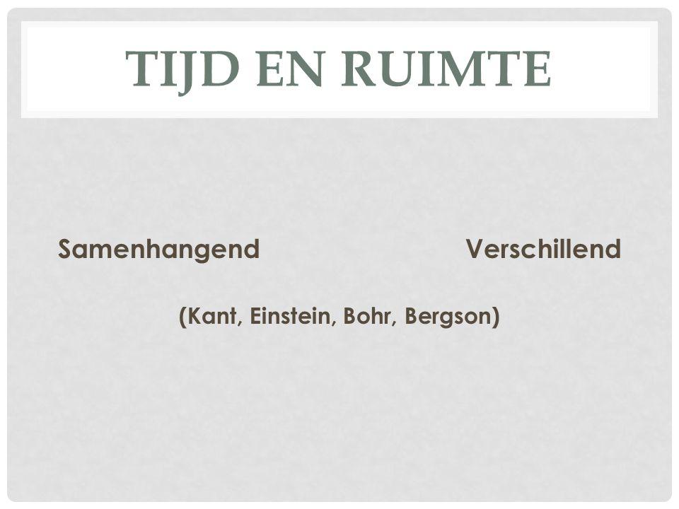 TIJD EN RUIMTE SamenhangendVerschillend (Kant, Einstein, Bohr, Bergson)