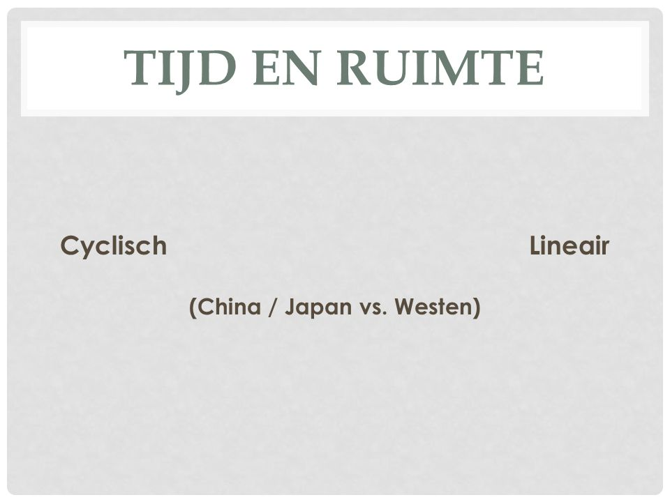 TIJD EN RUIMTE CyclischLineair (China / Japan vs. Westen)