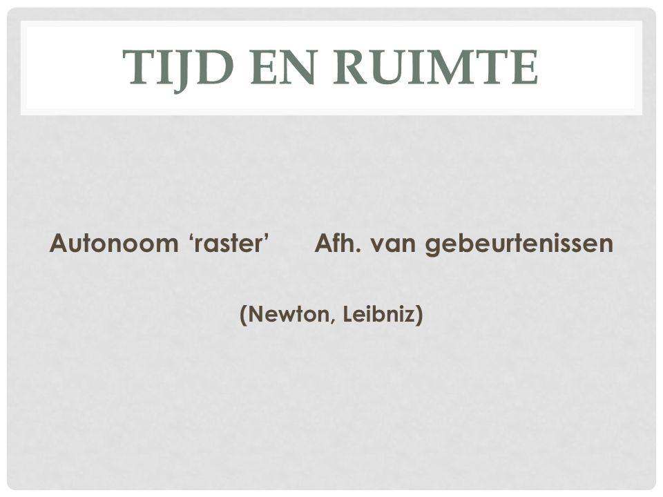 TIJD EN RUIMTE Autonoom 'raster'Afh. van gebeurtenissen (Newton, Leibniz)