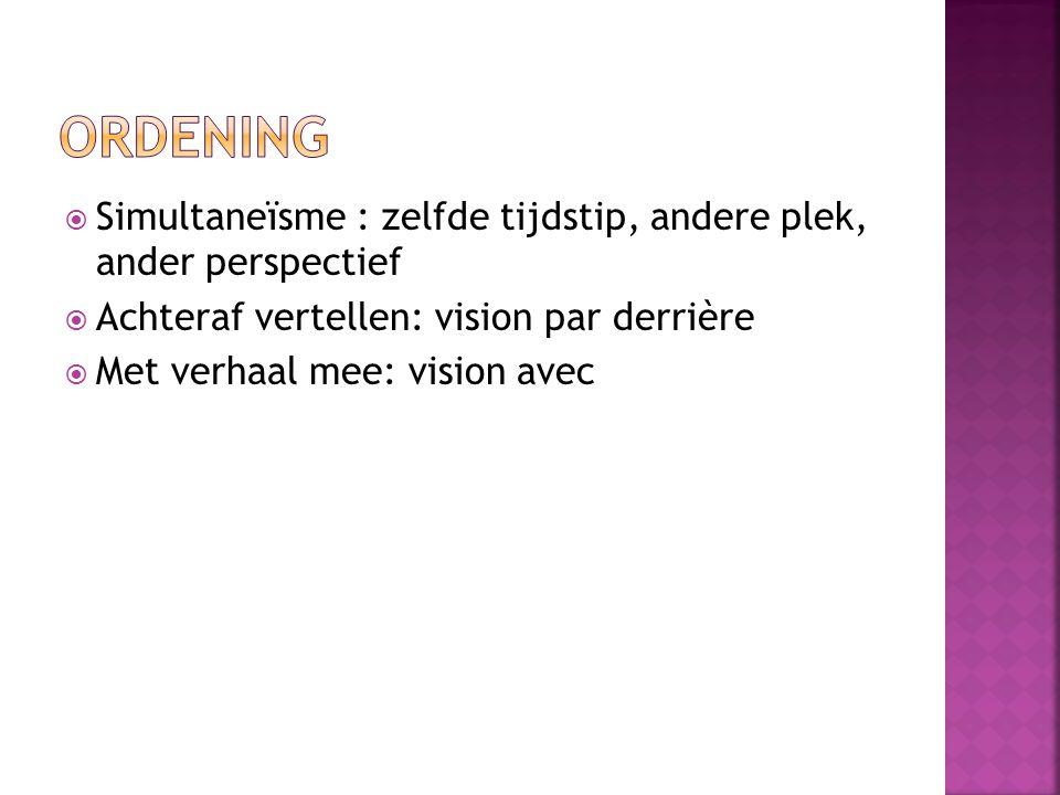  Simultaneïsme : zelfde tijdstip, andere plek, ander perspectief  Achteraf vertellen: vision par derrière  Met verhaal mee: vision avec