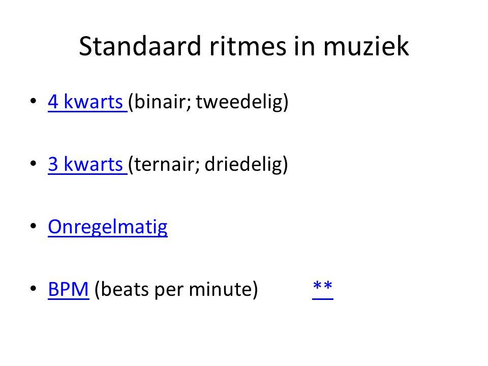 Standaard ritmes in muziek 4 kwarts (binair; tweedelig) 4 kwarts 3 kwarts (ternair; driedelig) 3 kwarts Onregelmatig BPM (beats per minute) ** BPM**