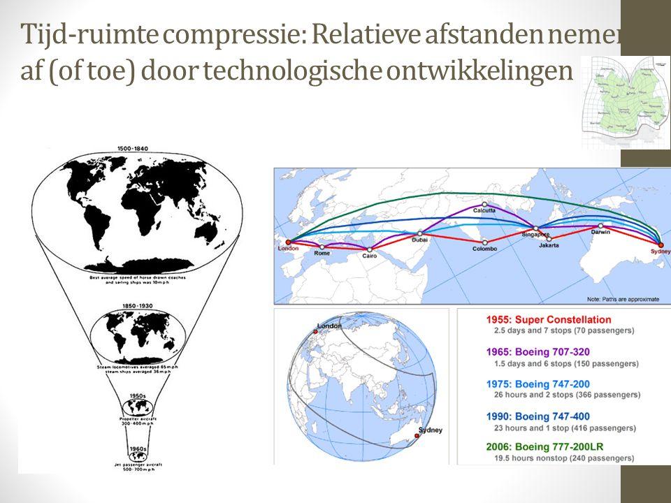 Tijd-ruimte compressie: Relatieve afstanden nemen af (of toe) door technologische ontwikkelingen