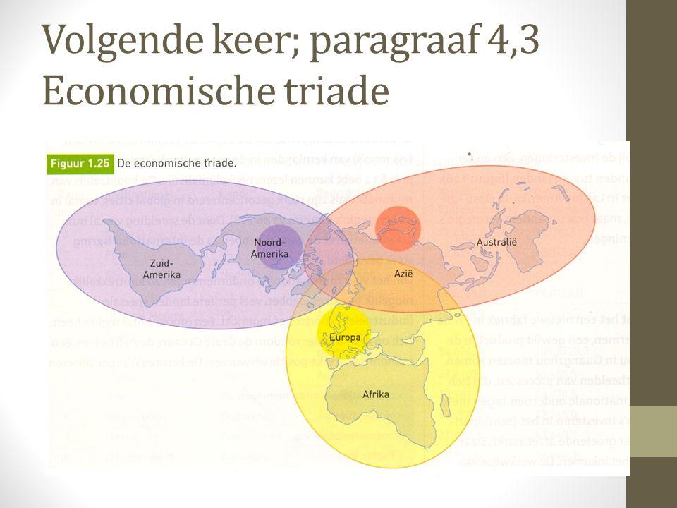 Volgende keer; paragraaf 4,3 Economische triade