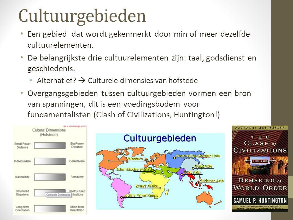 Cultuurgebieden (diffusie) Tussen cultuurgebieden kan culturele diffusie plaatsvinden.