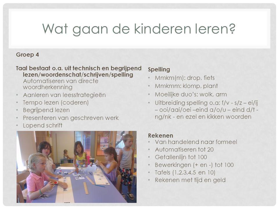 Wat gaan de kinderen leren? Groep 4 Taal bestaat o.a. uit technisch en begrijpend lezen/woordenschat/schrijven/spelling Automatiseren van directe woor