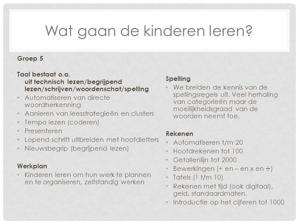 Wat gaan de kinderen leren? Groep 5 Taal bestaat o.a. uit technisch lezen/begrijpend lezen/schrijven/woordenschat/spelling Automatiseren van directe w