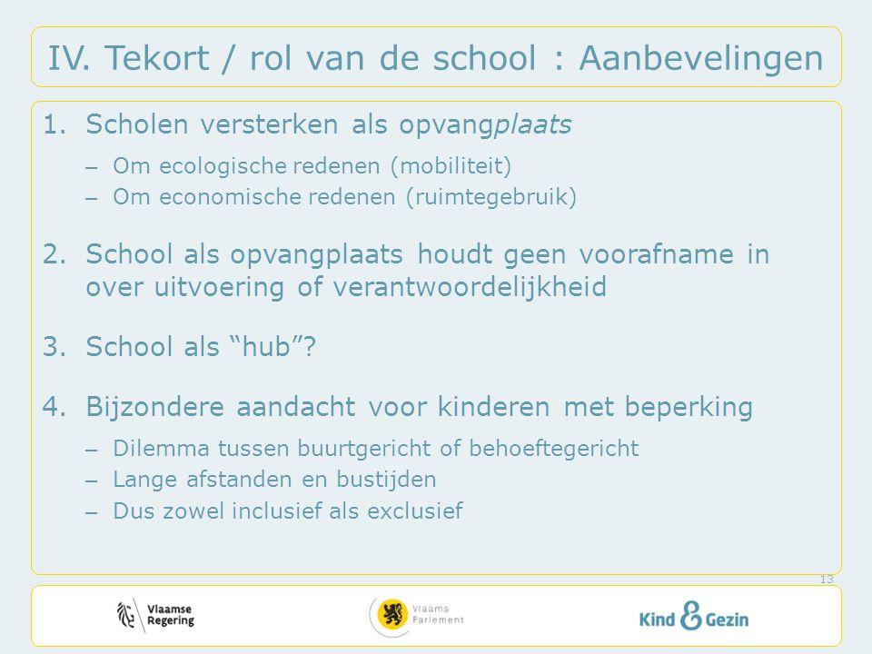 IV. Tekort / rol van de school : Aanbevelingen 1.Scholen versterken als opvangplaats – Om ecologische redenen (mobiliteit) – Om economische redenen (r
