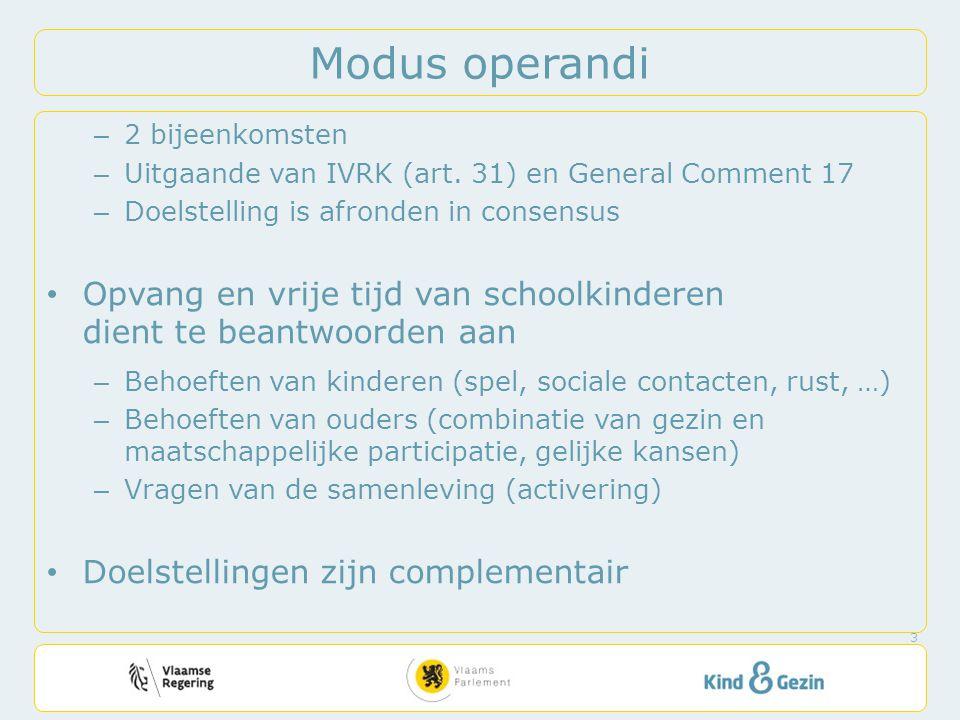 Modus operandi – 2 bijeenkomsten – Uitgaande van IVRK (art.