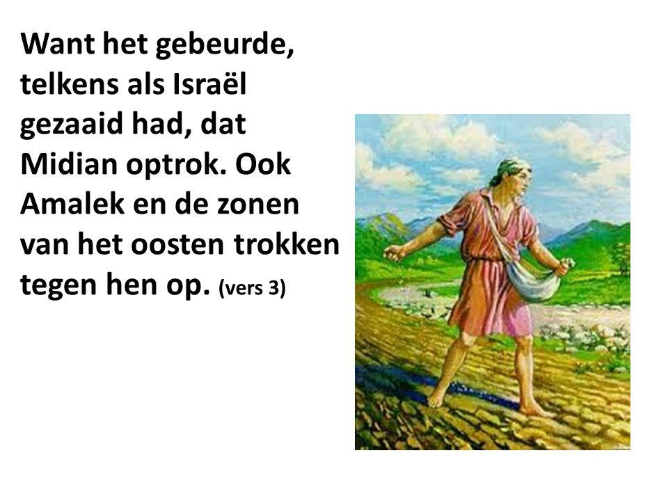 Want het gebeurde, telkens als Israël gezaaid had, dat Midian optrok. Ook Amalek en de zonen van het oosten trokken tegen hen op. (vers 3)