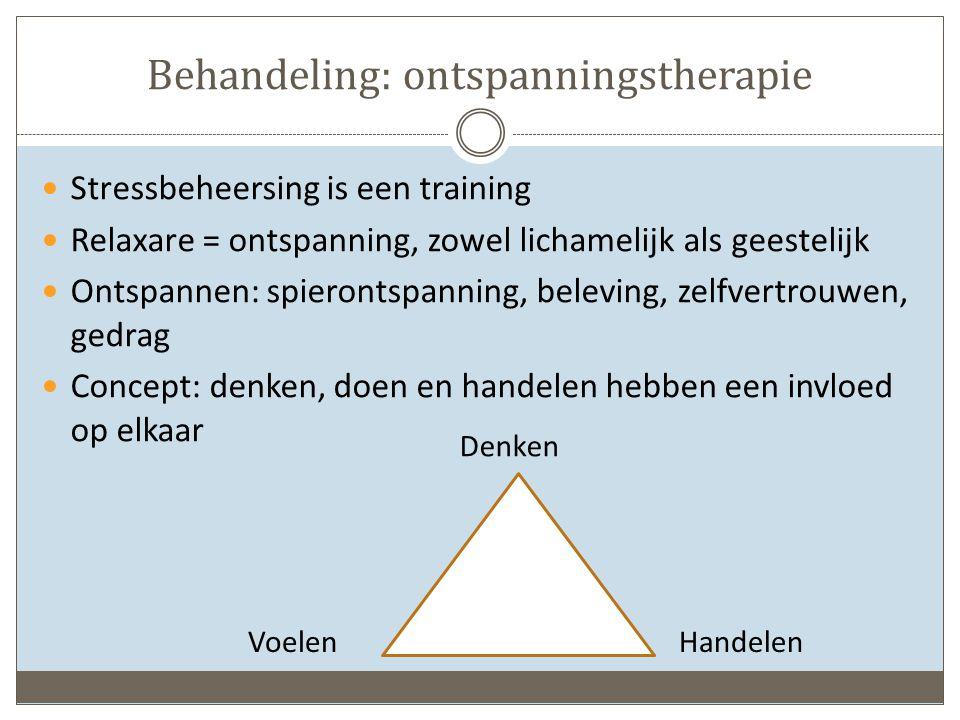 Behandeling: ontspanningstherapie Stressbeheersing is een training Relaxare = ontspanning, zowel lichamelijk als geestelijk Ontspannen: spierontspanning, beleving, zelfvertrouwen, gedrag Concept: denken, doen en handelen hebben een invloed op elkaar Voelen Denken Handelen