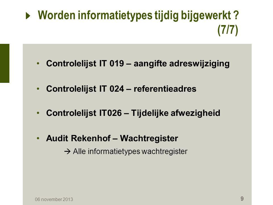 Overzicht Worden informatietypes tijdig bijgewerkt .