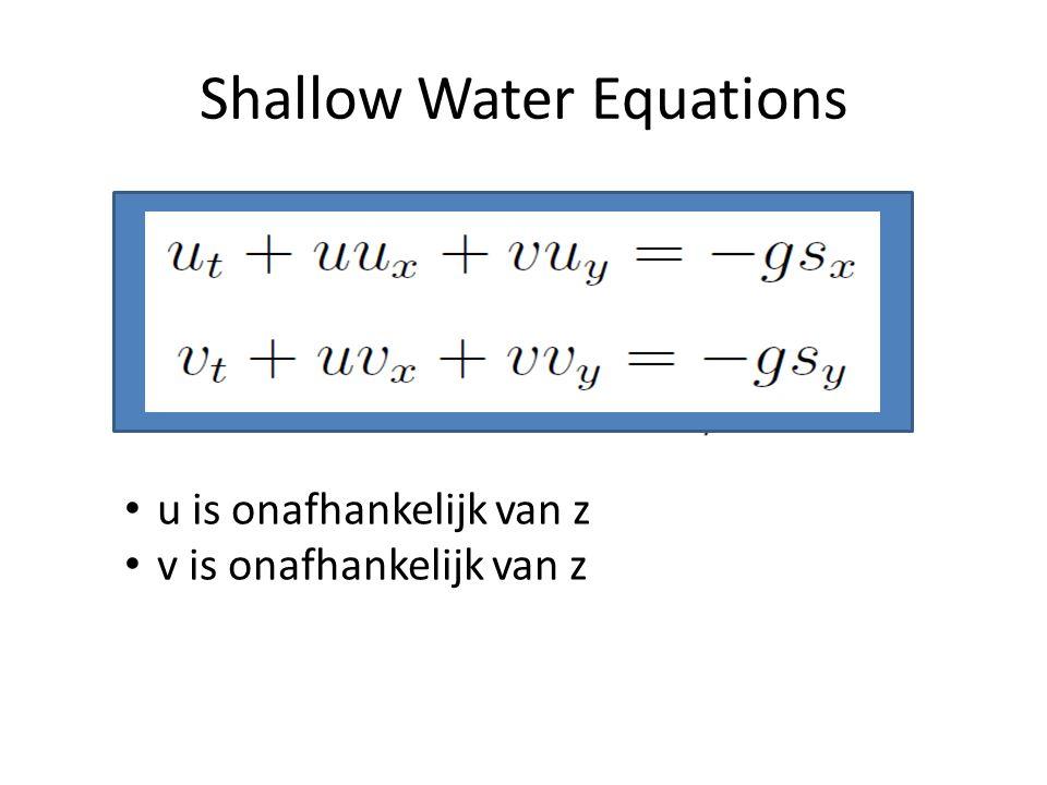 Shallow Water Equations u is onafhankelijk van z v is onafhankelijk van z