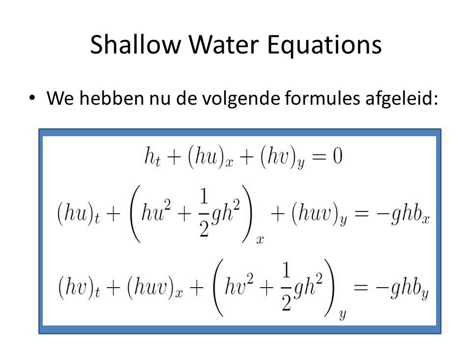 Shallow Water Equations We hebben nu de volgende formules afgeleid: