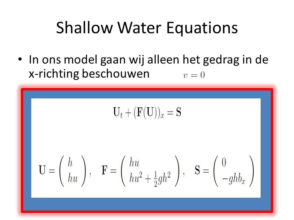 Shallow Water Equations In ons model gaan wij alleen het gedrag in de x-richting beschouwen