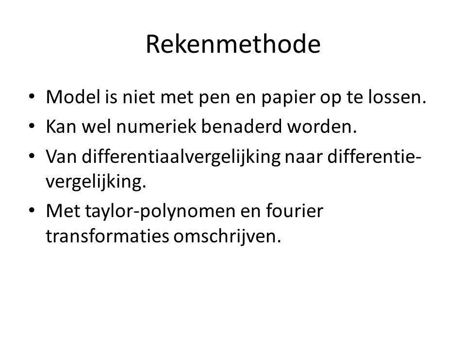 Rekenmethode Model is niet met pen en papier op te lossen. Kan wel numeriek benaderd worden. Van differentiaalvergelijking naar differentie- vergelijk