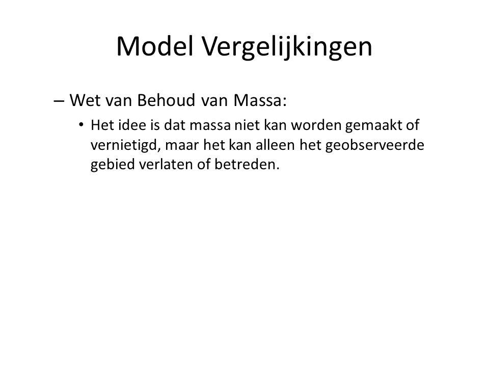 Model Vergelijkingen – Wet van Behoud van Massa: Het idee is dat massa niet kan worden gemaakt of vernietigd, maar het kan alleen het geobserveerde ge