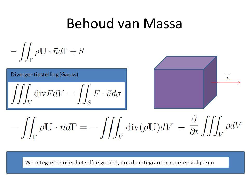 Behoud van Massa Divergentiestelling (Gauss) We integreren over hetzelfde gebied, dus de integranten moeten gelijk zijn