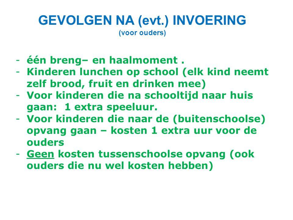 GEVOLGEN NA (evt.) INVOERING (voor ouders) -één breng– en haalmoment. -Kinderen lunchen op school (elk kind neemt zelf brood, fruit en drinken mee) -V