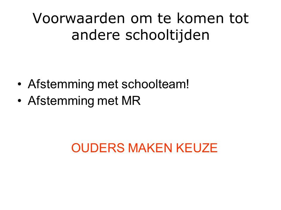 Voorwaarden om te komen tot andere schooltijden Afstemming met schoolteam! Afstemming met MR OUDERS MAKEN KEUZE