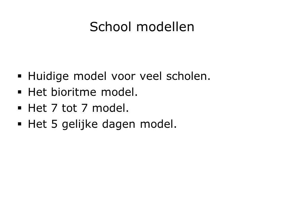 School modellen  Huidige model voor veel scholen.  Het bioritme model.  Het 7 tot 7 model.  Het 5 gelijke dagen model.