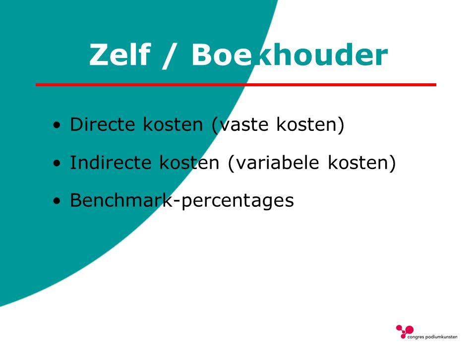 Zelf / Boekhouder Directe kosten (vaste kosten) Indirecte kosten (variabele kosten) Benchmark-percentages