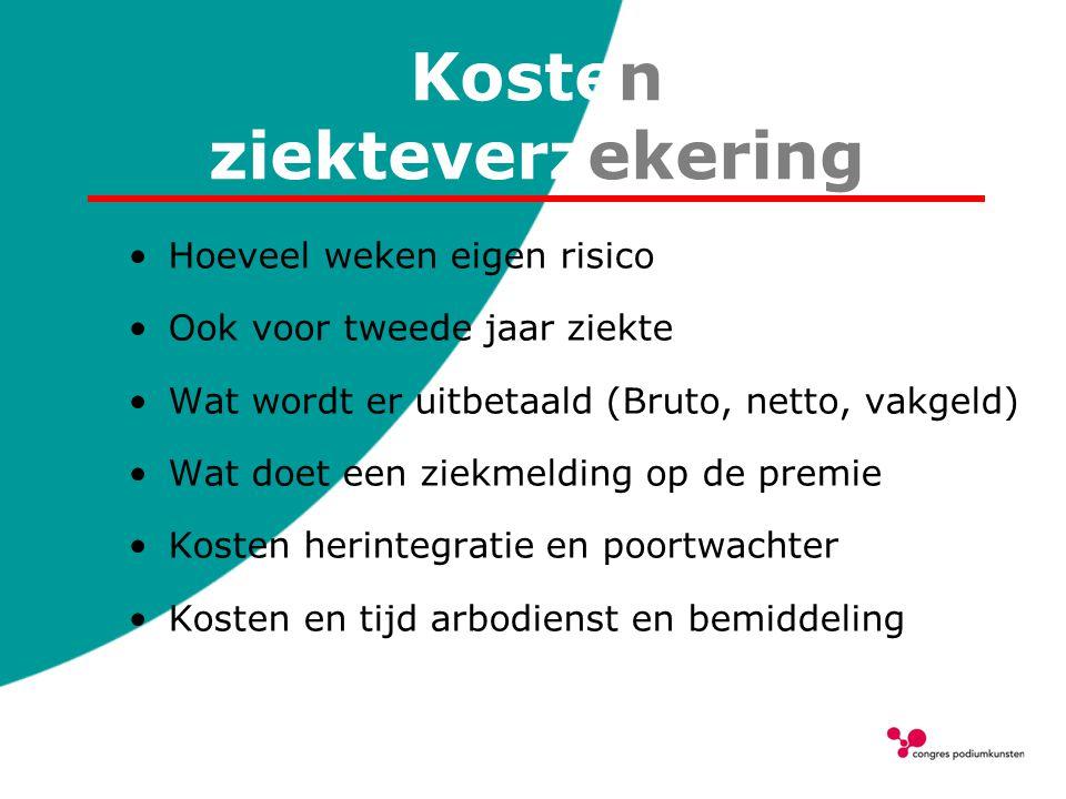 Kosten ziekteverzekering Hoeveel weken eigen risico Ook voor tweede jaar ziekte Wat wordt er uitbetaald (Bruto, netto, vakgeld) Wat doet een ziekmeldi