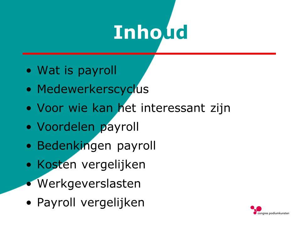 Inhoud Wat is payroll Medewerkerscyclus Voor wie kan het interessant zijn Voordelen payroll Bedenkingen payroll Kosten vergelijken Werkgeverslasten Pa