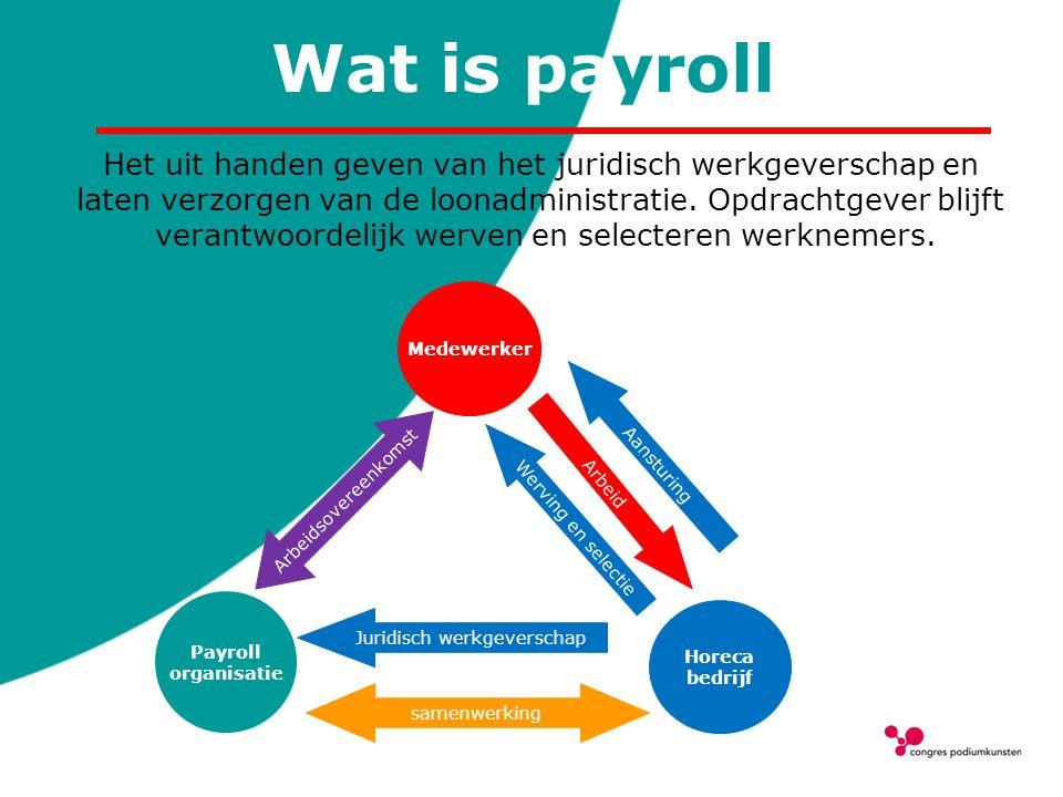 Wat is payroll Het uit handen geven van het juridisch werkgeverschap en laten verzorgen van de loonadministratie. Opdrachtgever blijft verantwoordelij