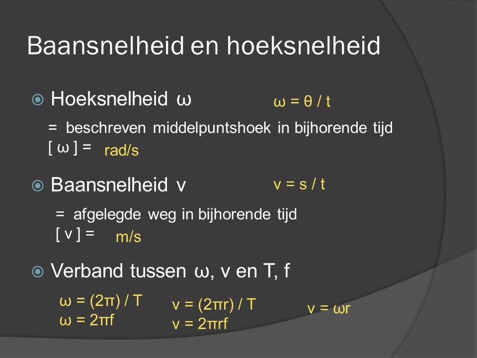 Baansnelheid en hoeksnelheid  Hoeksnelheid ω  Baansnelheid v  Verband tussen ω, v en T, f = beschreven middelpuntshoek in bijhorende tijd [ ω ] = =