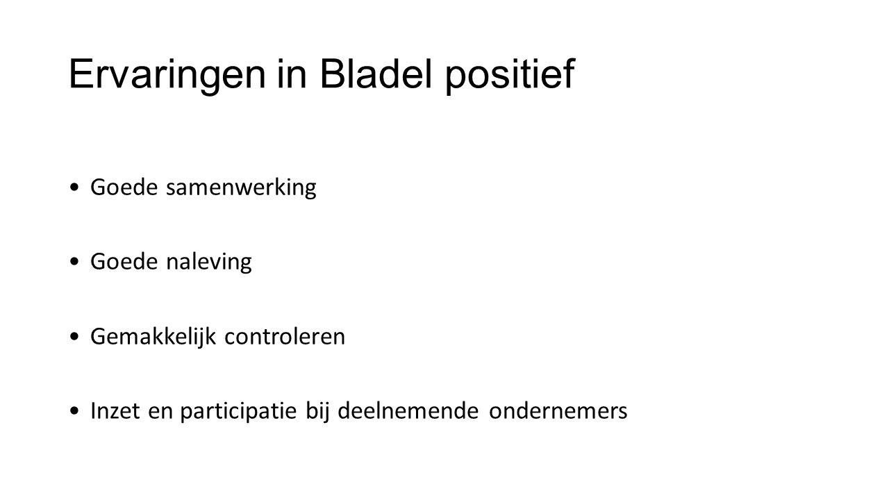 Ervaringen in Bladel positief Goede samenwerking Goede naleving Gemakkelijk controleren Inzet en participatie bij deelnemende ondernemers