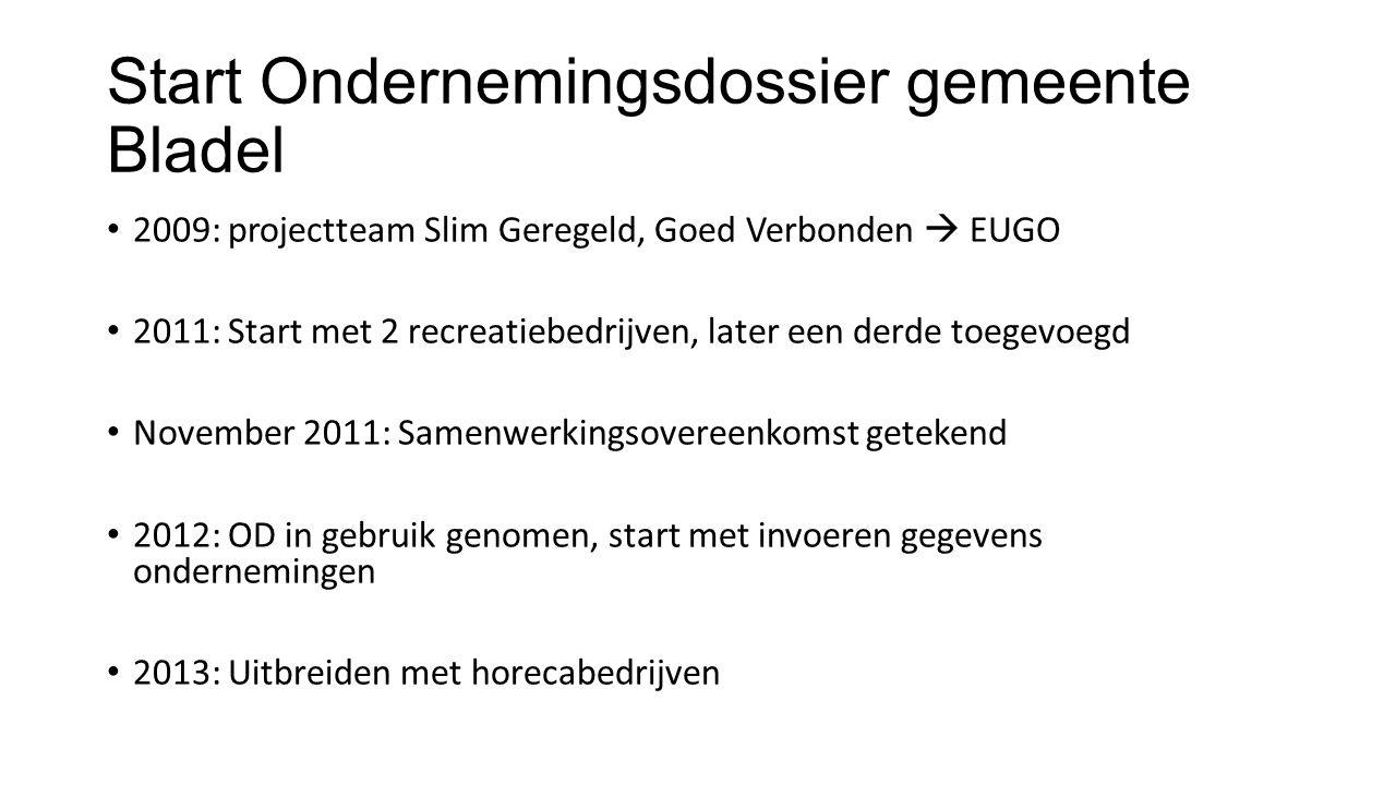 Start Ondernemingsdossier gemeente Bladel 2009: projectteam Slim Geregeld, Goed Verbonden  EUGO 2011: Start met 2 recreatiebedrijven, later een derde