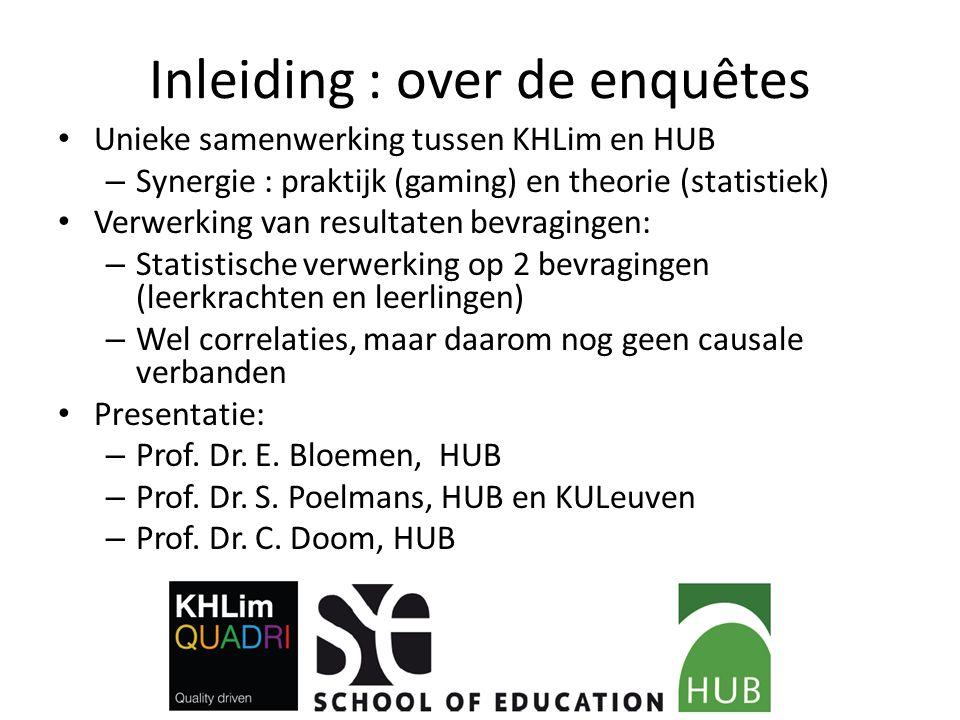 Inleiding : over de enquêtes Unieke samenwerking tussen KHLim en HUB – Synergie : praktijk (gaming) en theorie (statistiek) Verwerking van resultaten