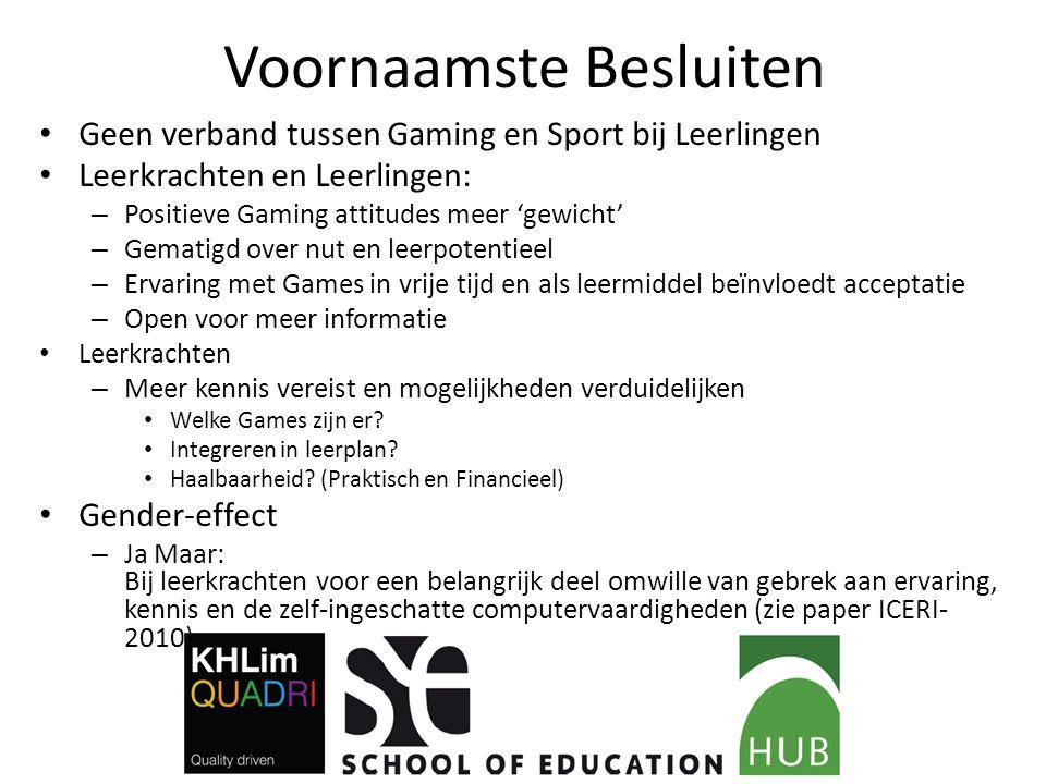 Voornaamste Besluiten Geen verband tussen Gaming en Sport bij Leerlingen Leerkrachten en Leerlingen: – Positieve Gaming attitudes meer 'gewicht' – Gem
