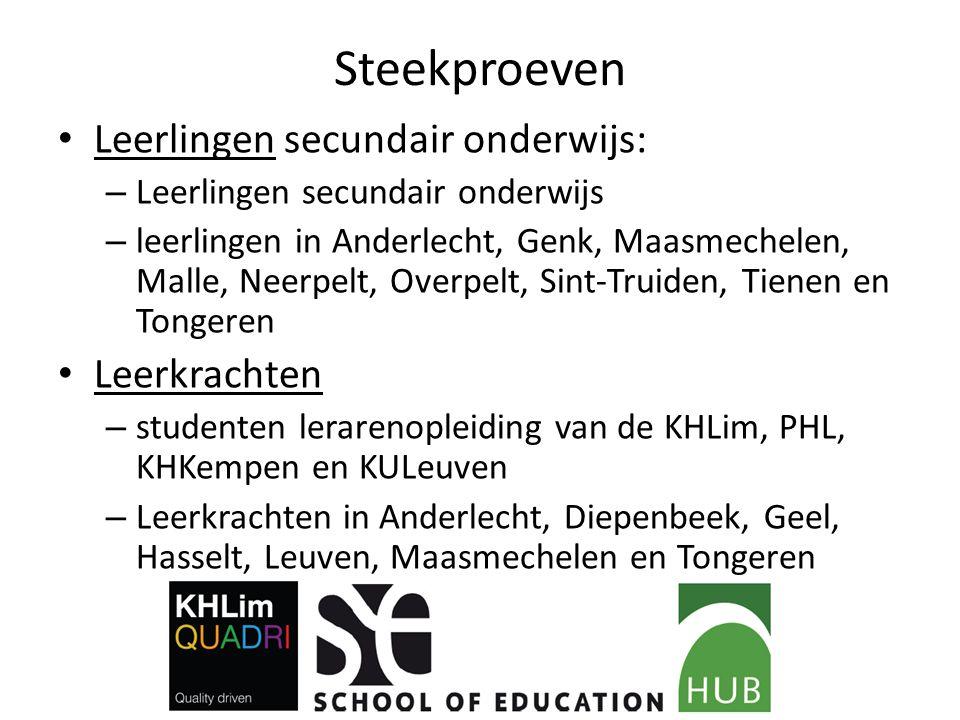 Steekproeven Leerlingen secundair onderwijs: – Leerlingen secundair onderwijs – leerlingen in Anderlecht, Genk, Maasmechelen, Malle, Neerpelt, Overpel