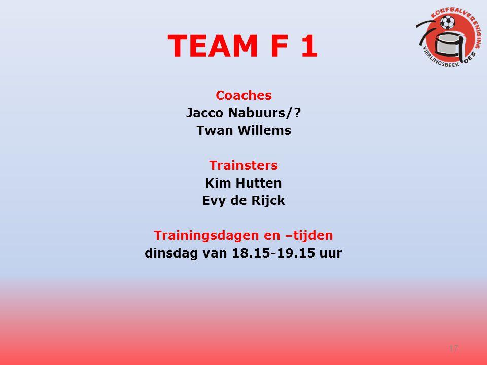 TEAM F 1 Coaches Jacco Nabuurs/? Twan Willems Trainsters Kim Hutten Evy de Rijck Trainingsdagen en –tijden dinsdag van 18.15-19.15 uur 17