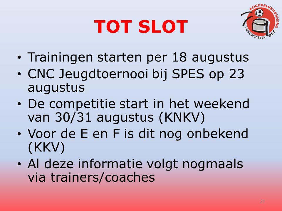 TOT SLOT Trainingen starten per 18 augustus CNC Jeugdtoernooi bij SPES op 23 augustus De competitie start in het weekend van 30/31 augustus (KNKV) Voo